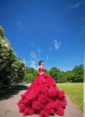Платье облако в прокат, жилетка из цветного меха