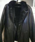 Кожаная натуральная зимняя модная куртка, майка борцовка с джинсовой юбкой