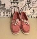 Топсайдеры Sebago розовые, кожаные ботинки женские осень фирма мида, Сиверский