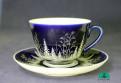Чайная чашка с блюдцем Зима
