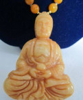 Кулон-колье из редкого желтого нефрита будда, Рахья