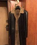 Кожаное мужское пальто на меху 46-48, костюм олдос генри, Старая
