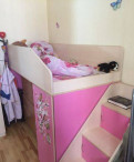 Кровать-чердак с матрасом + стол, Бугры