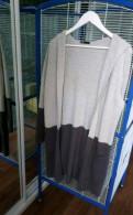 Фасоны комбинированных платьев из трикотажа, кардиган серый