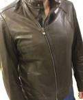 Кожаная мужская куртка 56-58 размер, рубашка под джинсы и кроссовки