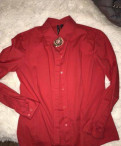 Одежда из италии хлопок, рубашка красная mango