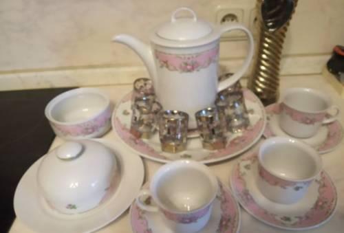 Чайный сервиз Роза гдр и набор для спиртного