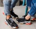 Чёрные кроссовки Balenciaga Triple S, мужские кроссовки karrimor