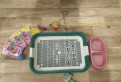 Лоток, миска, игрушки, корм