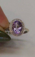Кольцо золотое 585 с аметистом и бриллиантами
