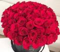 49 алых роз в шляпной коробке