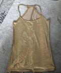 Платье макси ярусами, золотая нарядная майка XXS