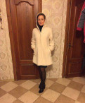 Полупальто-свингер из кролика разм 44-50, платье цвета марсала и бежевые туфли