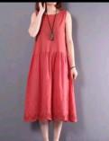 Модели платьев для женщин 45 лет, платье коралловый цвет. Новое, Санкт-Петербург