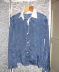 Блуза шелковая синяя в белый горошек, 19081-22 тс платье шифон принт птицы темно-синий