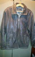 Мужские кожаные куртки с мехом волка, куртка кожа нат. Р52