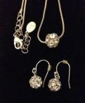 Комплект ожерелье-цепочка с кулоном и серьги