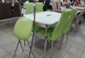 Стол с матовым стеклом белый и стулья Норд зеленые, Тихвин
