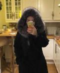 Платье с запахом и рукавом летучая мышь, шуба из козы размер L, Аннино