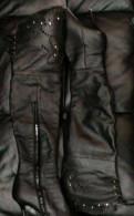 Кожаные ботфорты Calipso, зимние ботинки на высоком каблуке, Санкт-Петербург