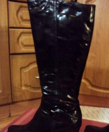 Красивые женские туфли на среднем каблуке, зимние кожа натуральная лак. Франция