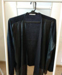Кардиган Zarina cо вставками из кожзама, джинсовая куртка с вязаными рукавами