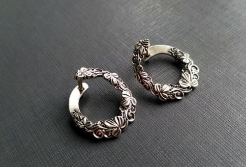 Крупные серебряные серьги