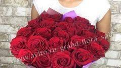 Розы Цветы доставка букеты 19 красных 50 см