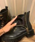 Балетки из натуральной кожи голубые, ботинки Carnaby