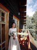 Жилетка из натурального меха лисы, свадебное платье