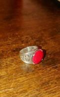 Серебряное кольцо перстень рубин